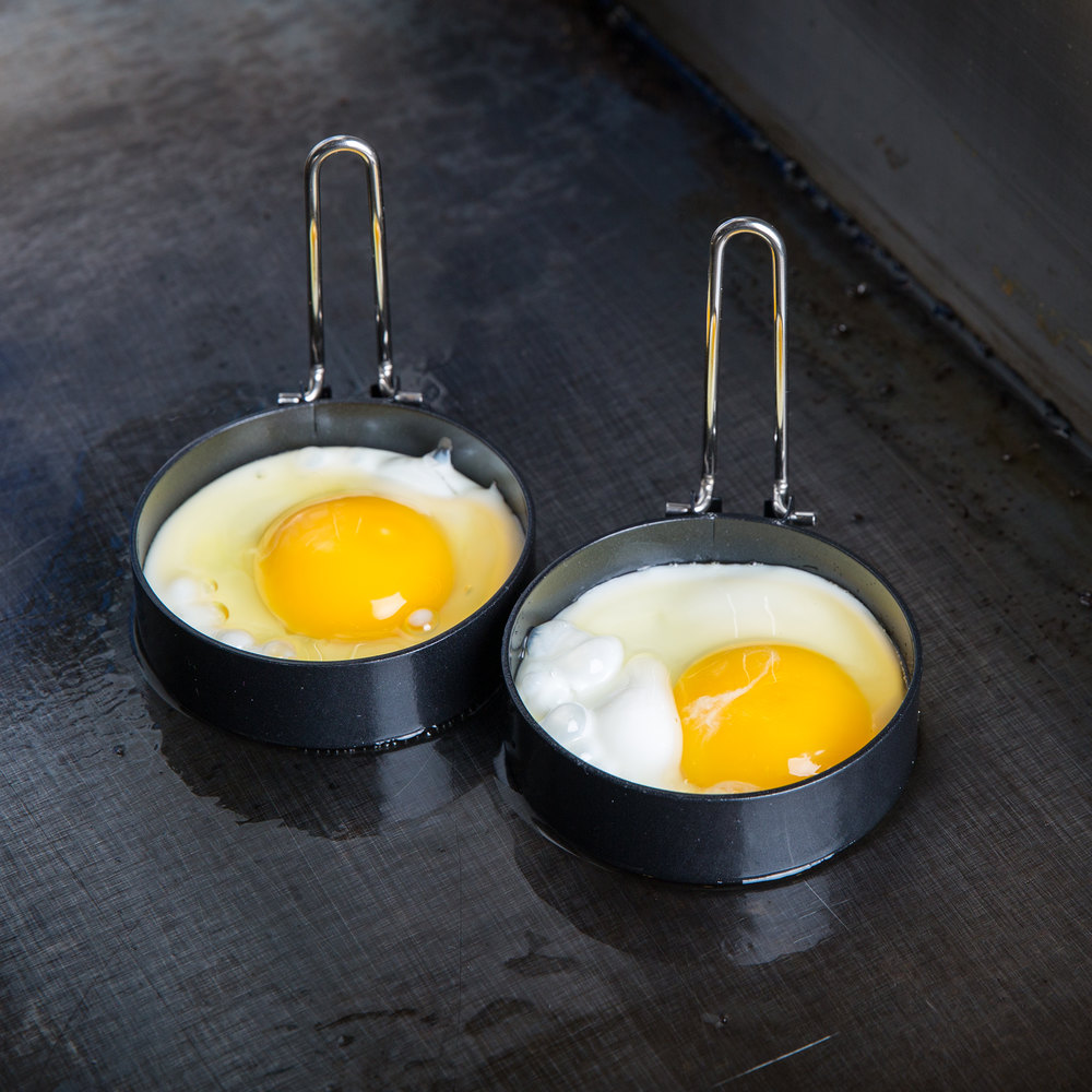 "3"" Black Non-Stick Egg Ring with Handle - 2/Pack"