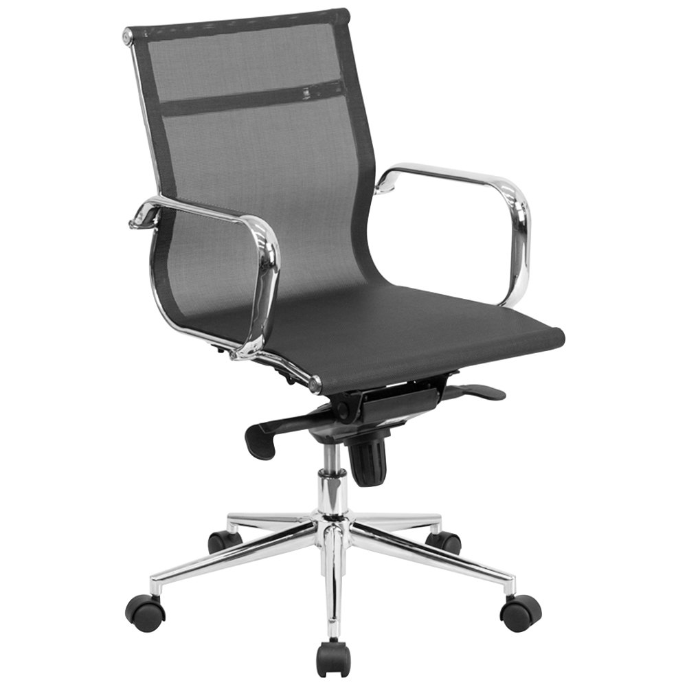 Mid Back Black Mesh Executive Office Chair With Chrome Arms And Tilt Adjustment