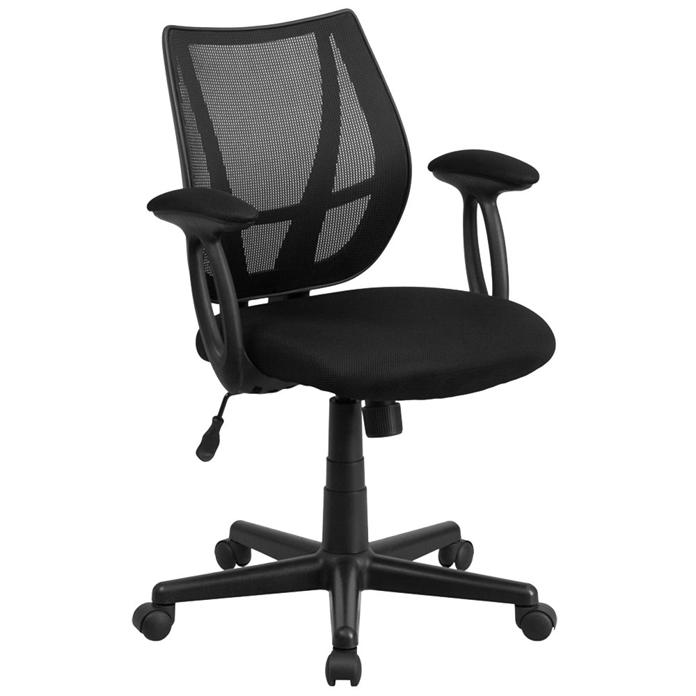 mid back black mesh office chair task chair with padded arms