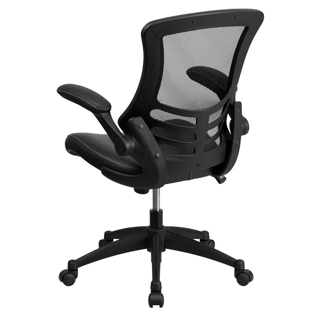 flash furniture bl-x-5m-lea-gg mid-back black mesh and leather