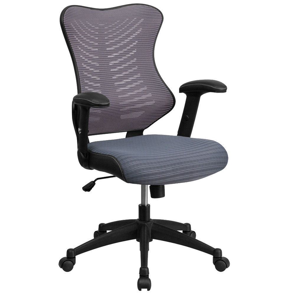 High Back Gray Mesh Executive Office Chair With Padded Seat And Nylon Base