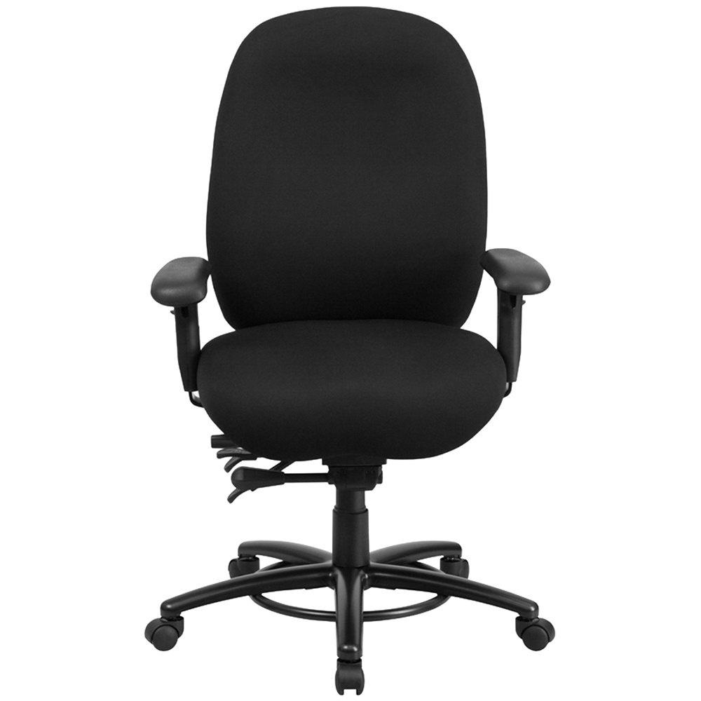 back black fabric intensive use multi functional swivel office chair
