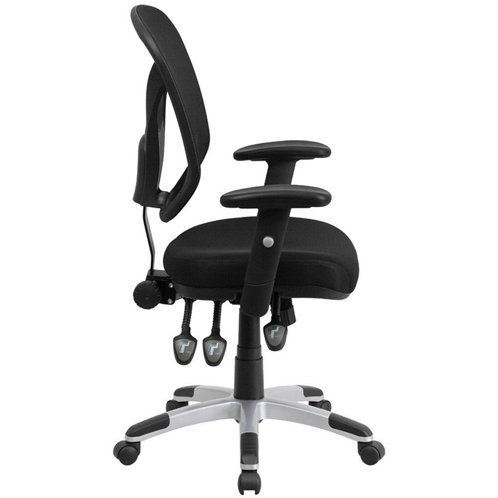 Mid Back Black Mesh Ergonomic Office Chair With Triple