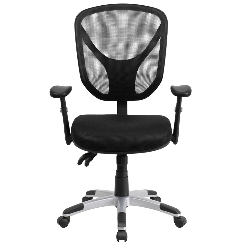 Office Chairs Adjustable Arms flash furniture go-wy-89-gg mid-back black mesh ergonomic office