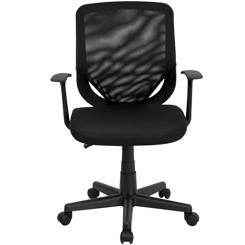 flash furniture lf-w-95a-bk-gg mid-back black mesh office chair