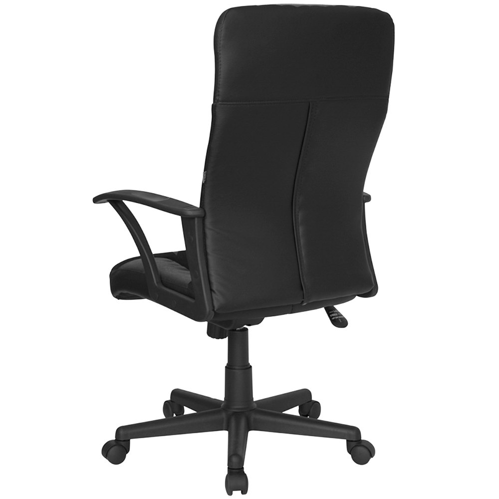 high back black split leather and mesh executive office chair with