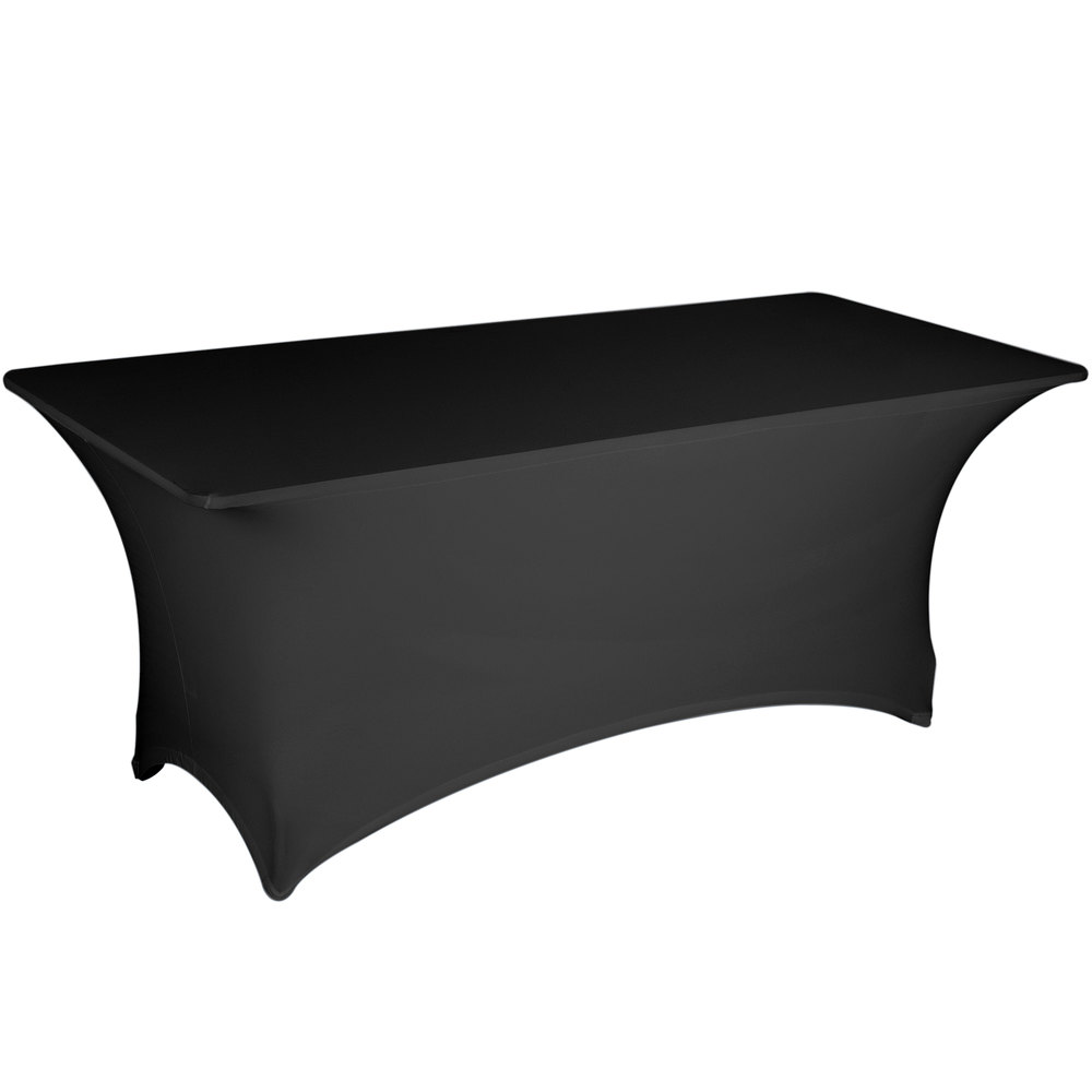 Black spandex tablecloth covers a rectangular folding table