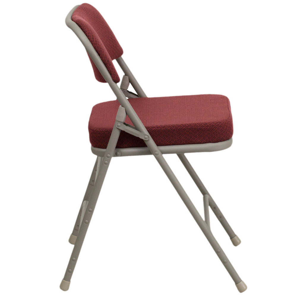 Burgundy Metal Folding Chair With 2 1 2 Quot Padded Fabric Seat