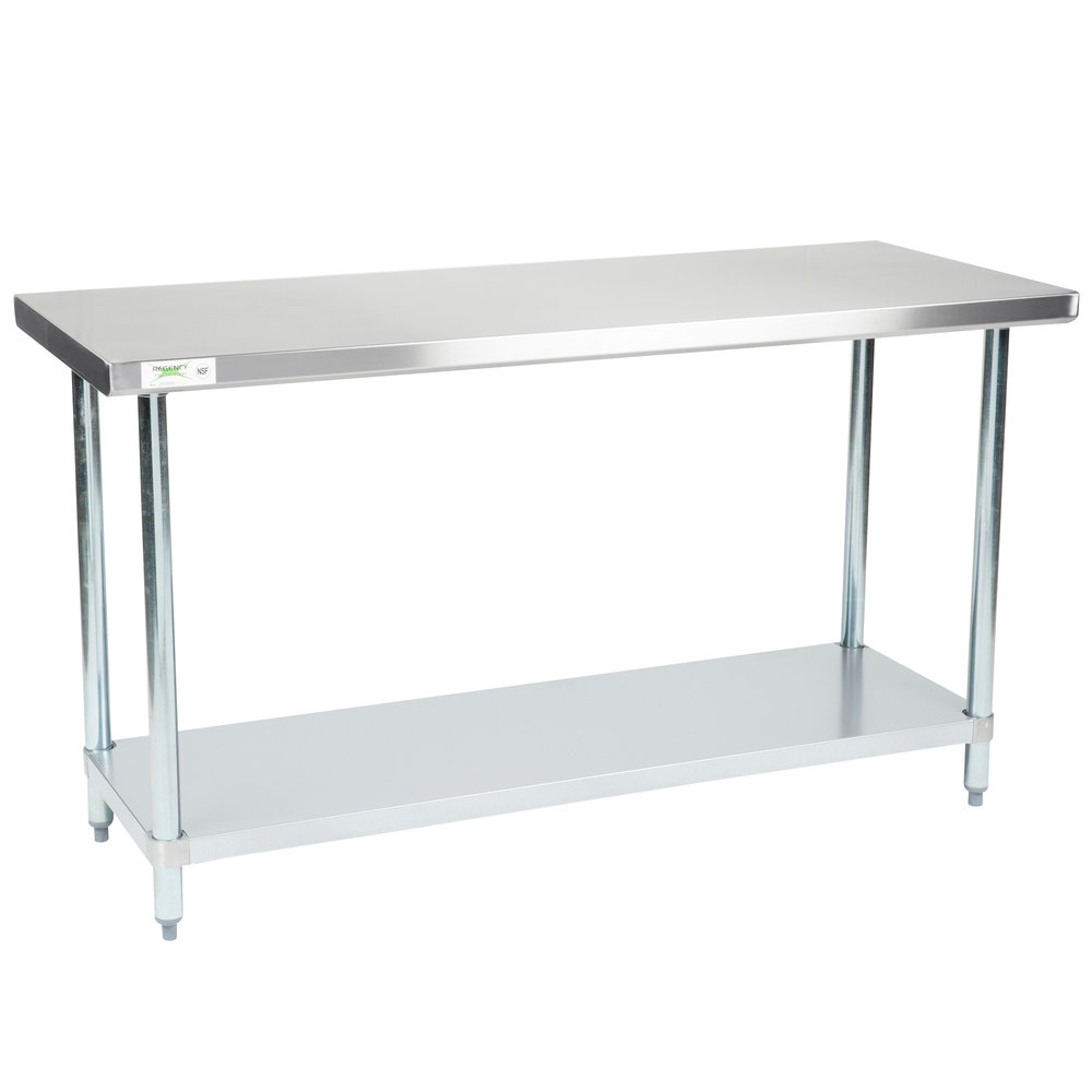 Regency 24 inch x 60 inch 18-Gauge 304 Stainless Steel Commercial Work Table with Galvanized Legs and Undershelf