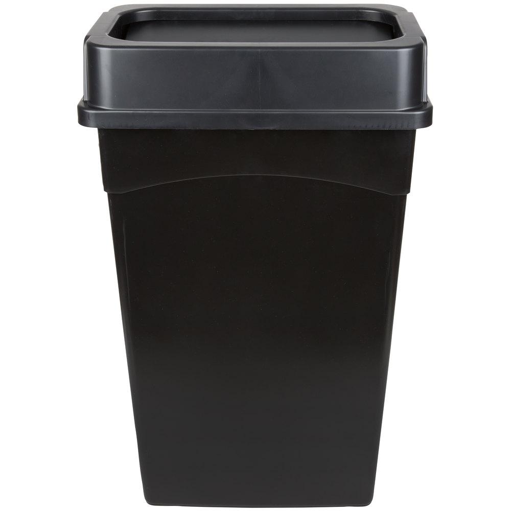 continental 23 gallon black wall hugger slim trash can and drop shot lid set. Black Bedroom Furniture Sets. Home Design Ideas