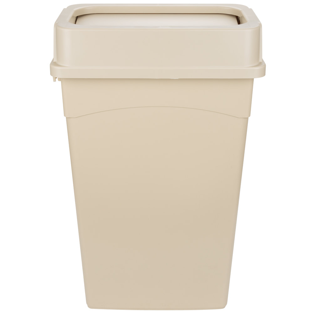 Continental 23 Gallon Beige Wall Hugger Trash Can And Drop