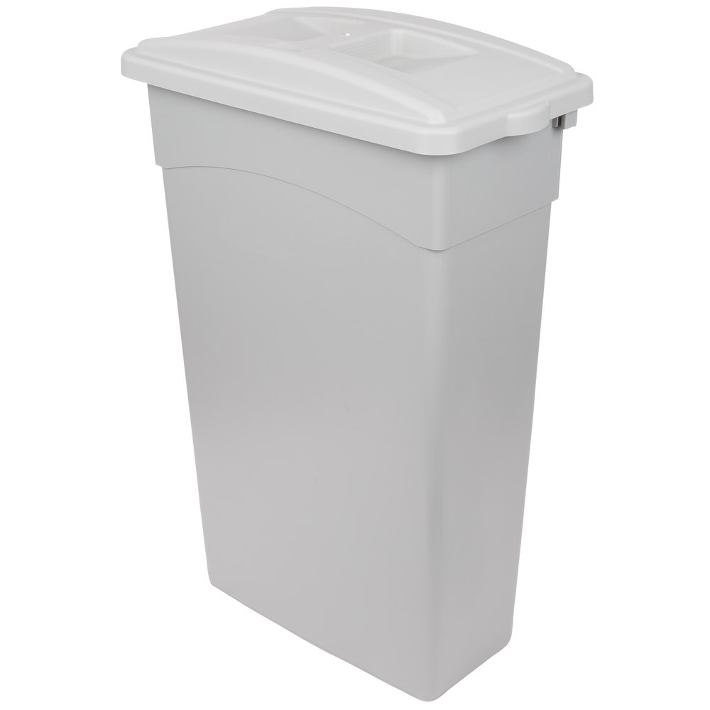 Continental 23 Gallon Gray Wall Hugger Slim Trash Can