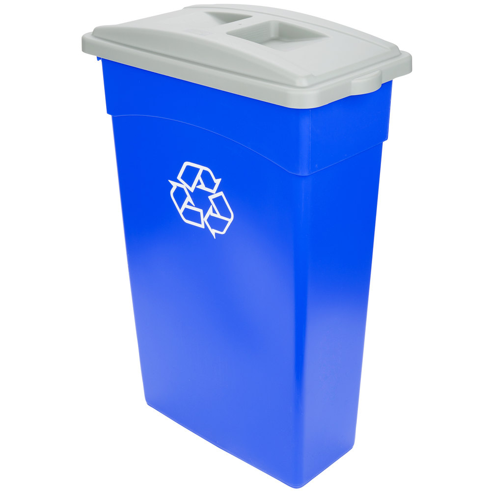 Continental 23 Gallon Blue Wall Hugger Recycling Trash Can