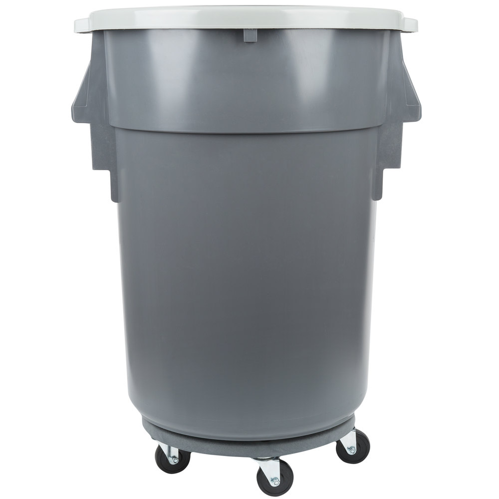 continental 44 gallon gray ribbed vented trash can lid and dolly kit