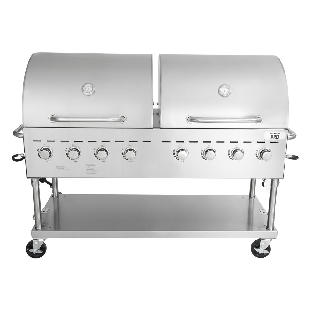 stainless steel outdoor grill with double hoods and 8 dials