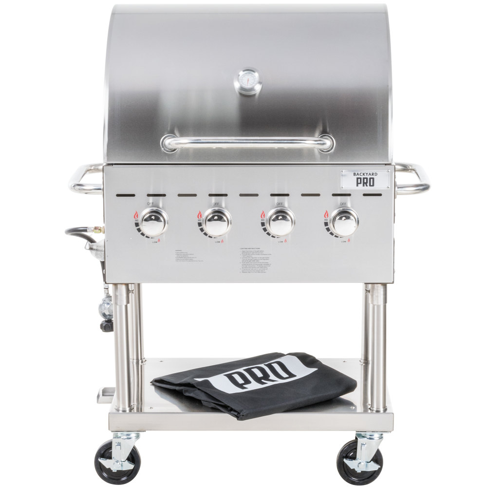 Liquid Propane Backyard Pro C3H830DEL Deluxe 30 Inch Stainless Steel  Outdoor Grill With Roll Dome And Cover ...