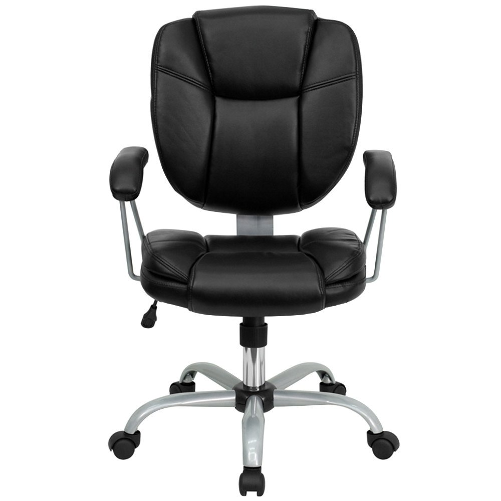 Mid-Back Black Leather Computer / Task Chair with Heavy ...