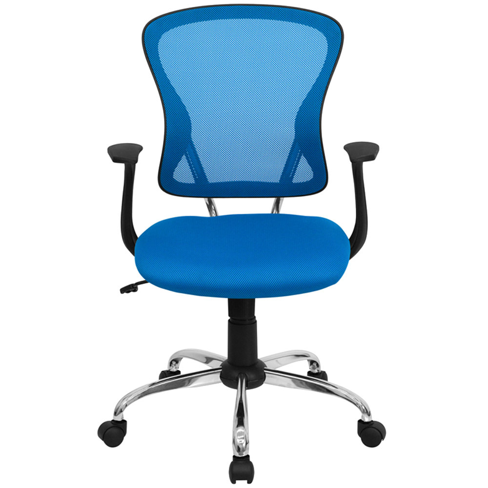 Blue And White Office: Flash Furniture H-8369F-BL-GG Mid-Back Blue Mesh Office