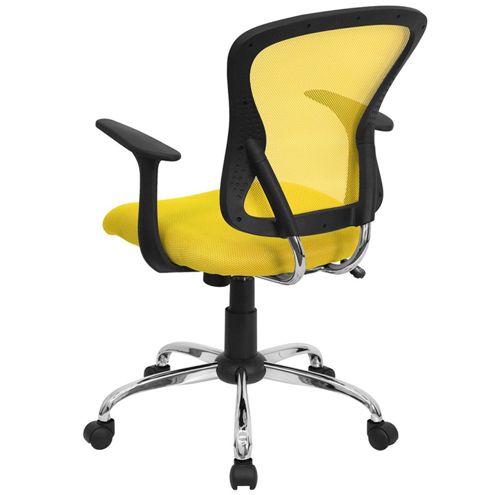 flash furniture h-8369f-yel-gg mid-back yellow mesh office chair