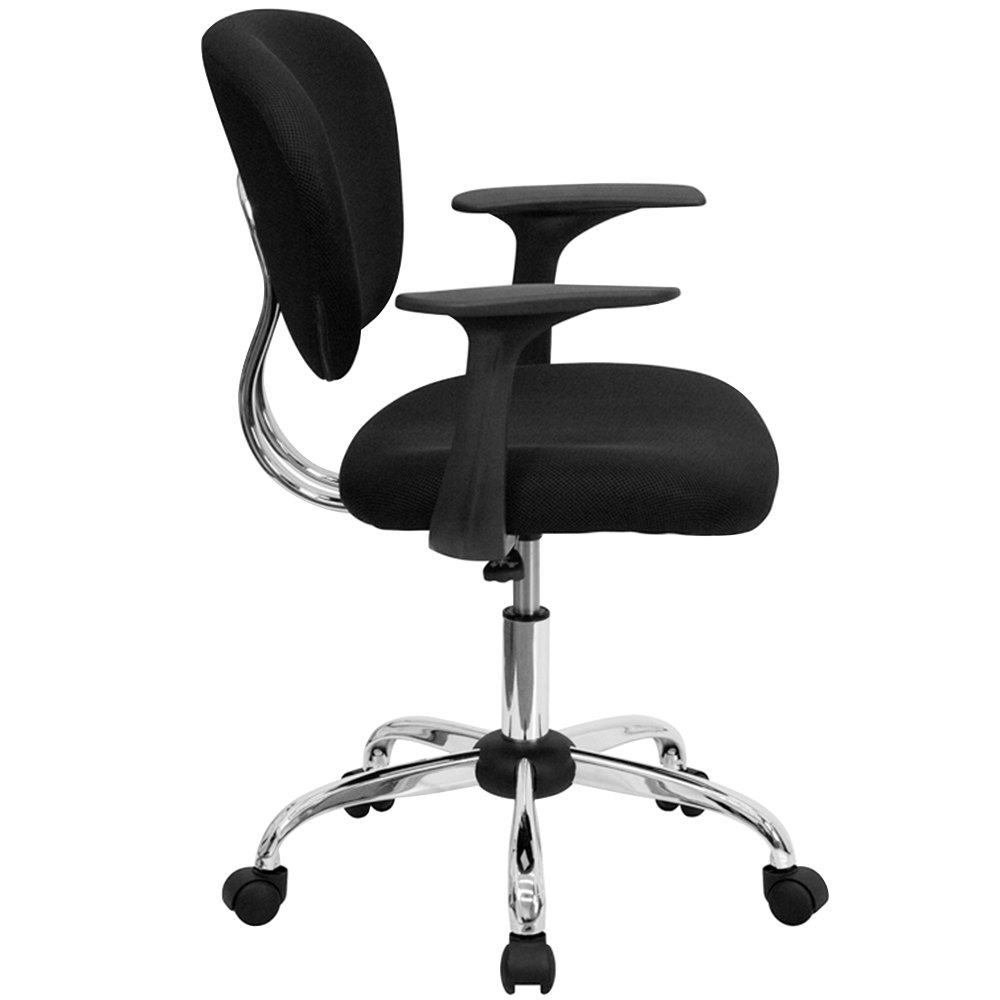 flash furniture h-2376-f-bk-arms-gg mid-back black mesh office