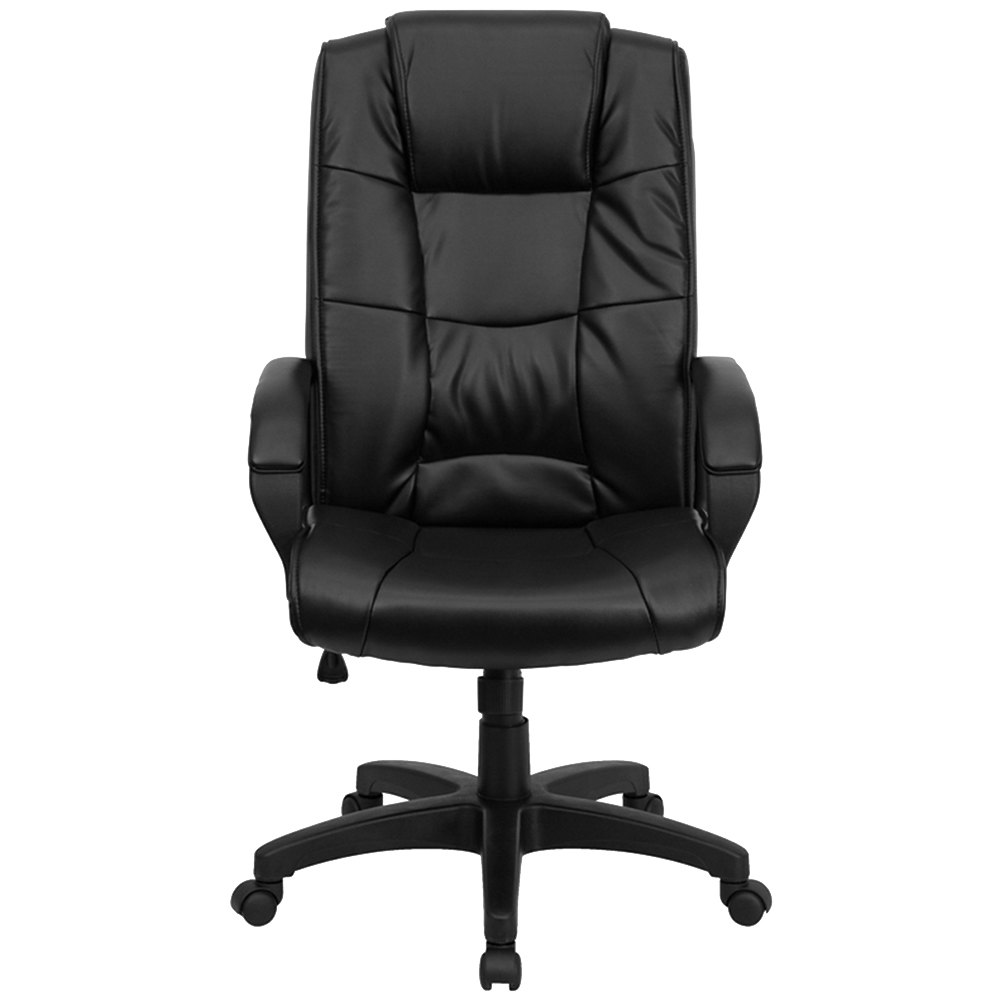 High Back Black Leather Executive Office Chair With Nylon Base Padded Back