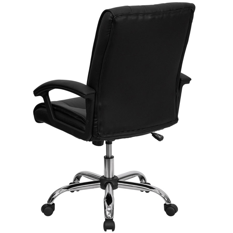 back black leather manager 39 s office chair with chrome finished base