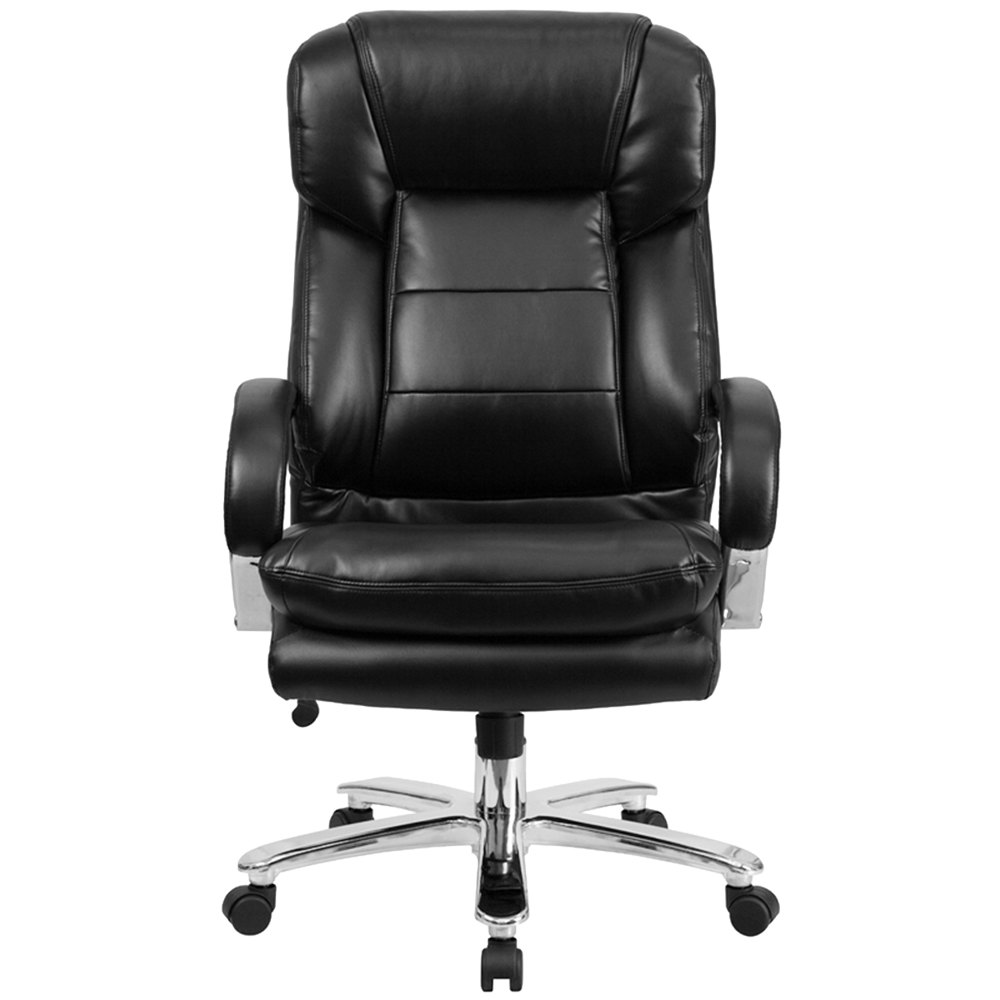 high back black leather intensive use multi shift swivel office chair