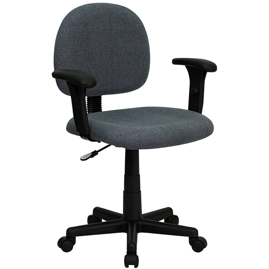 Mid Back Gray Ergonomic Office Chair Task Chair With Adjustable Arms