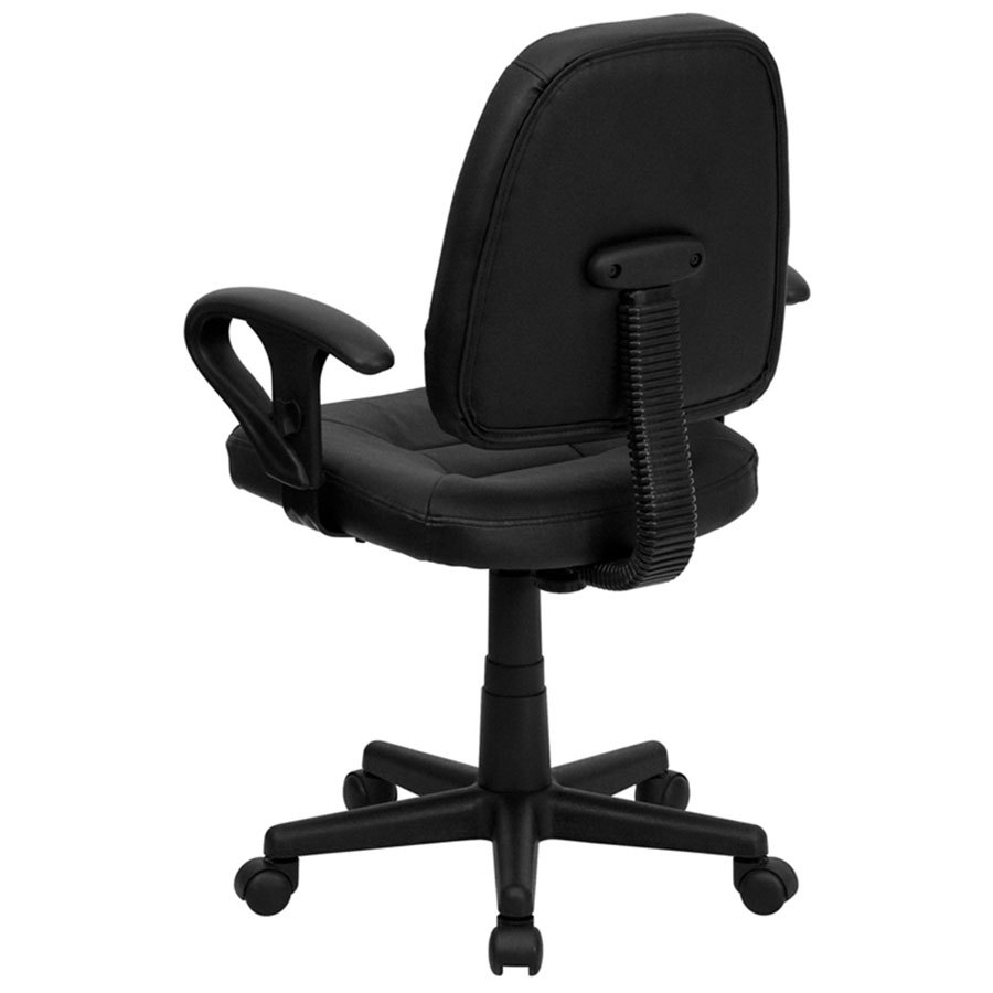 Office Chair With Adjustable Arms Flash Furniture Bt 682 Bk Gg Mid Back Black Leather Ergonomic