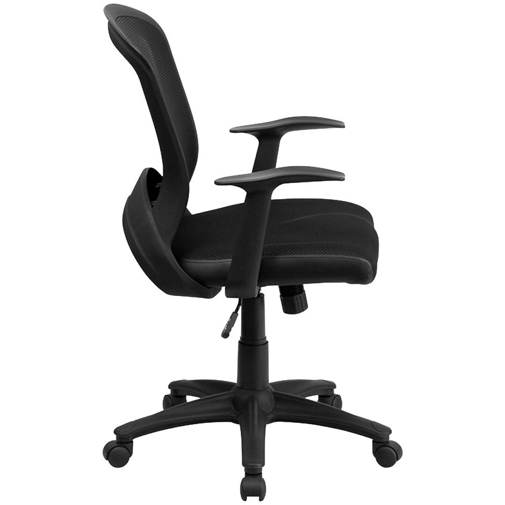 flash furniture hl 0007 gg mid back black mesh office chair with arms