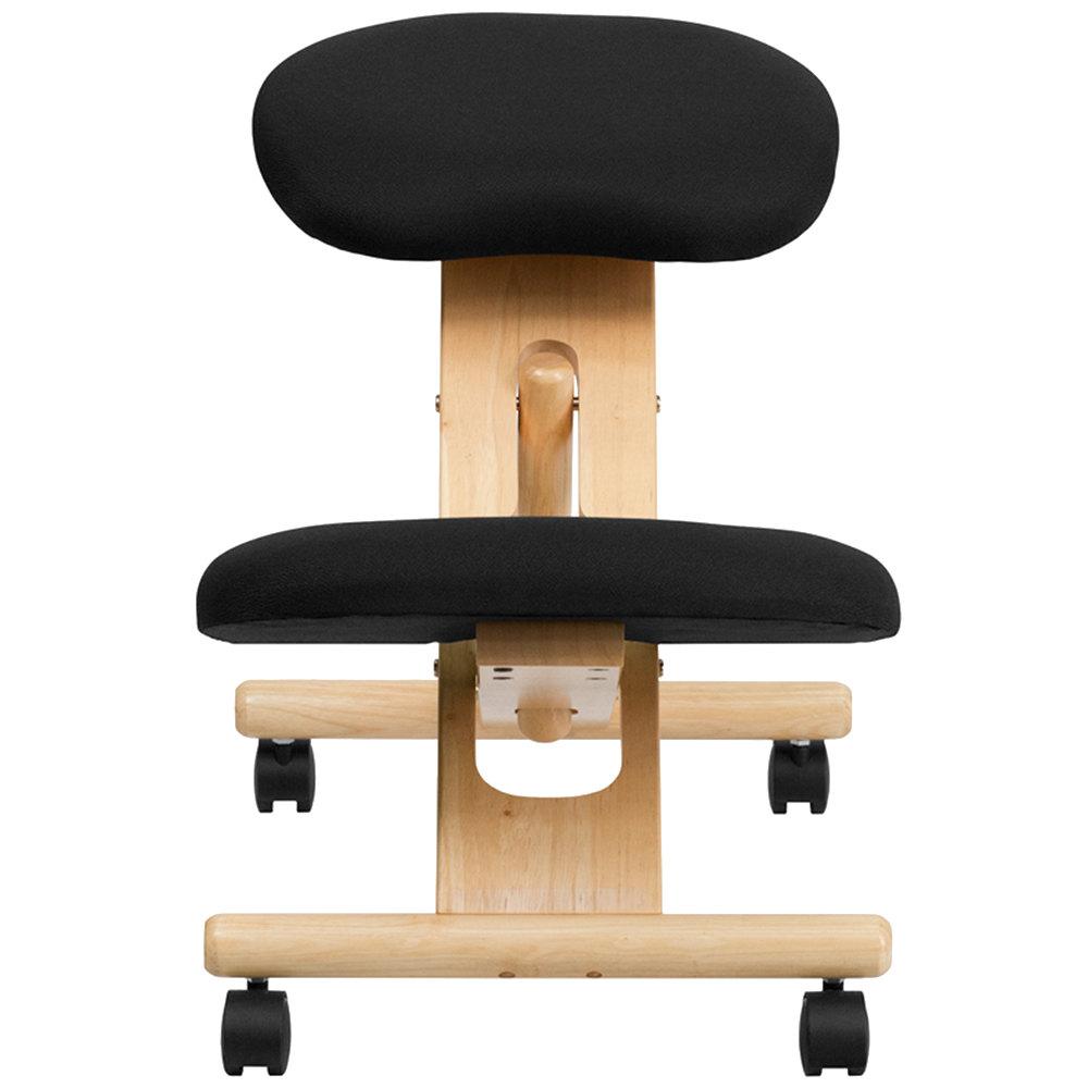 Black Ergonomic Mobile Kneeling Office Chair With Wooden Frame