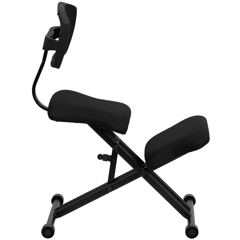 flash furniture wl-3440-gg black ergonomic kneeling office chair
