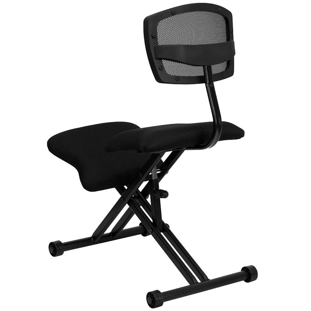 Black Ergonomic Kneeling Office Chair With Black Steel