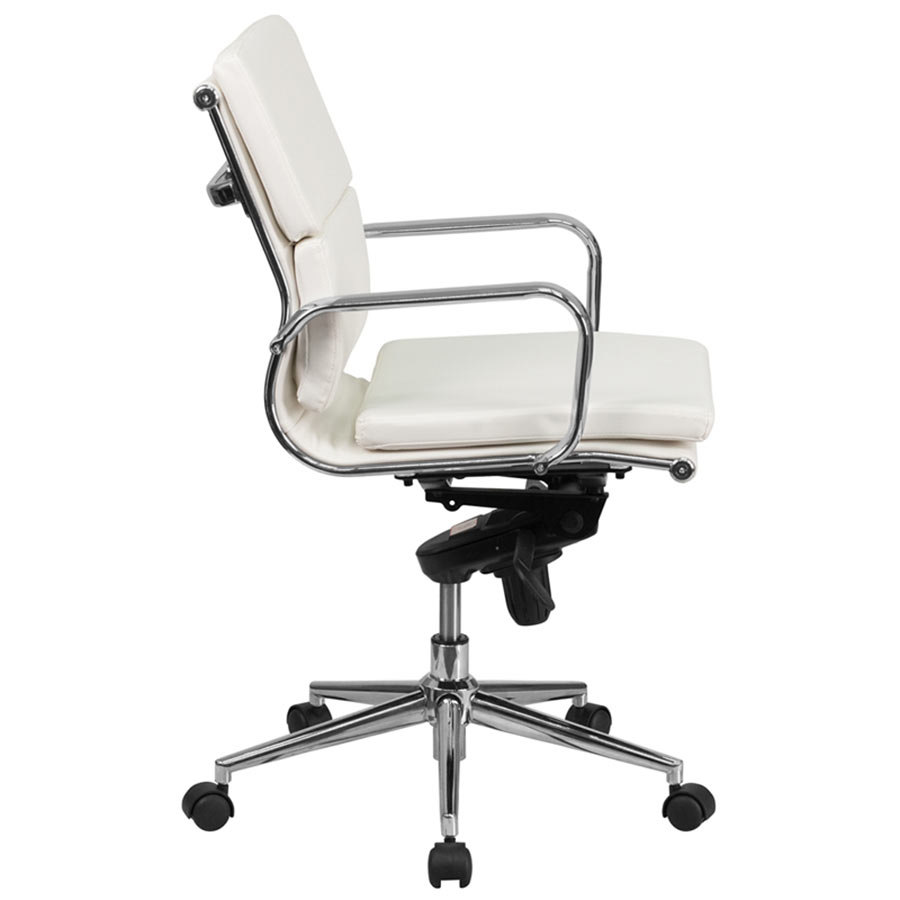 Flash Furniture BT9895MWHGG MidBack White Leather Executive