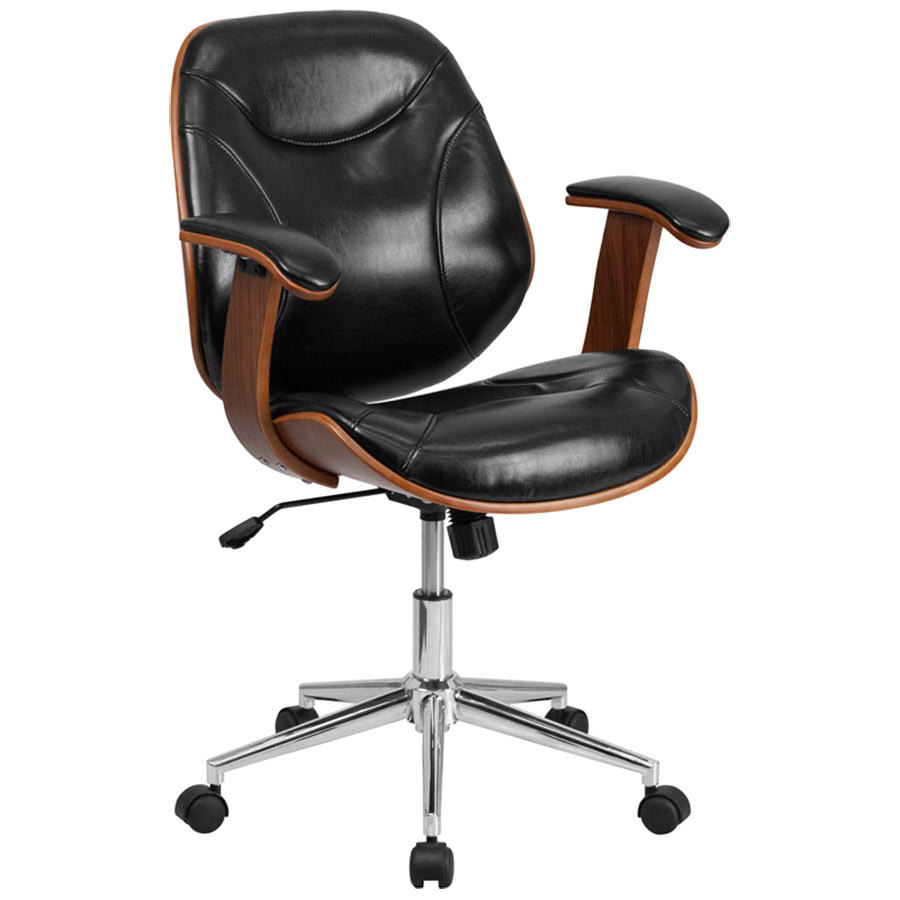 2235 5 bk gg mid back black leather executive wood office swivel chair