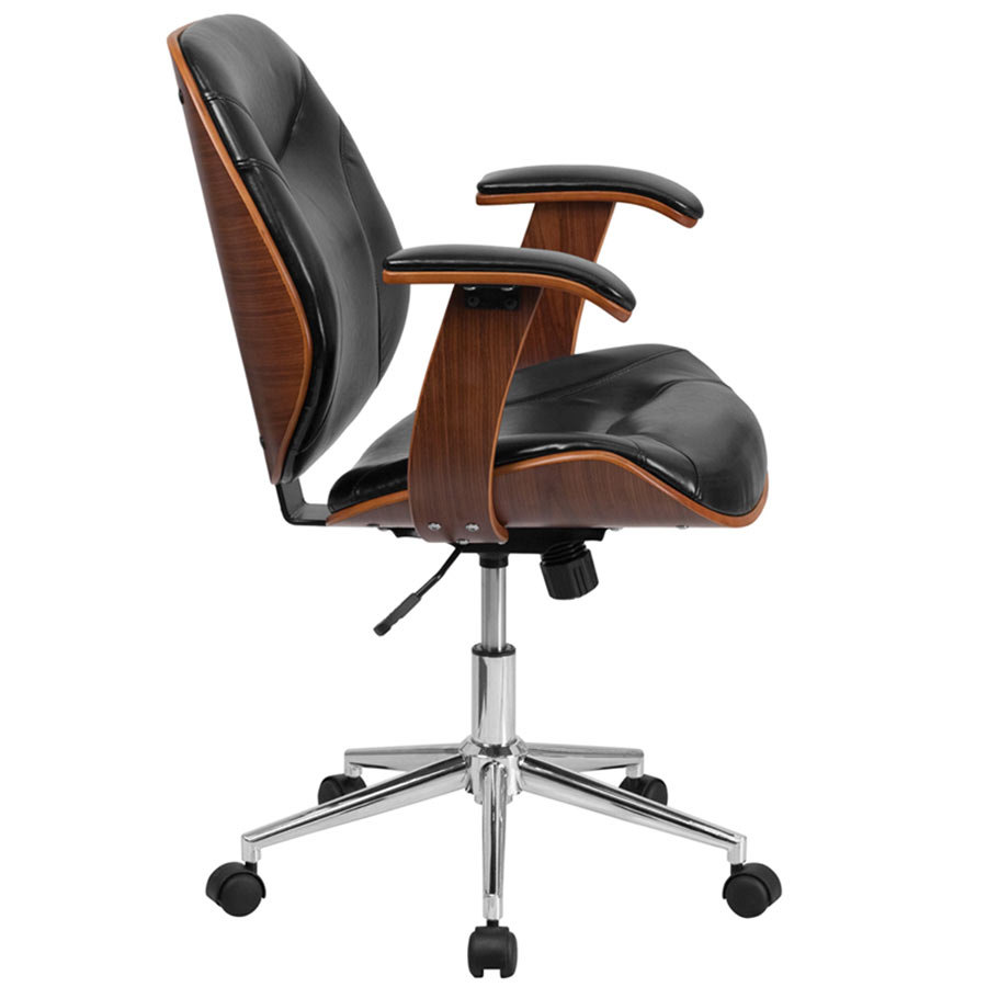 Mid Back Black Leather Executive Wood Office Swivel Chair