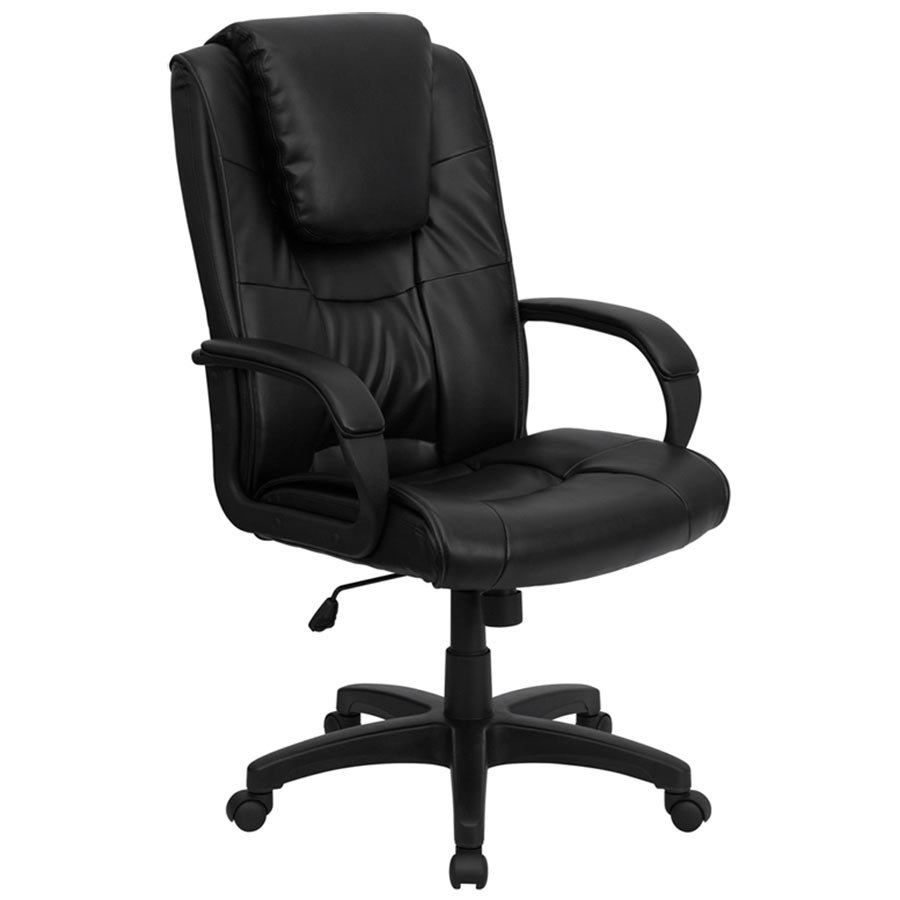 High Back Black Leather Executive Swivel Office Chair With Oversized Headrest
