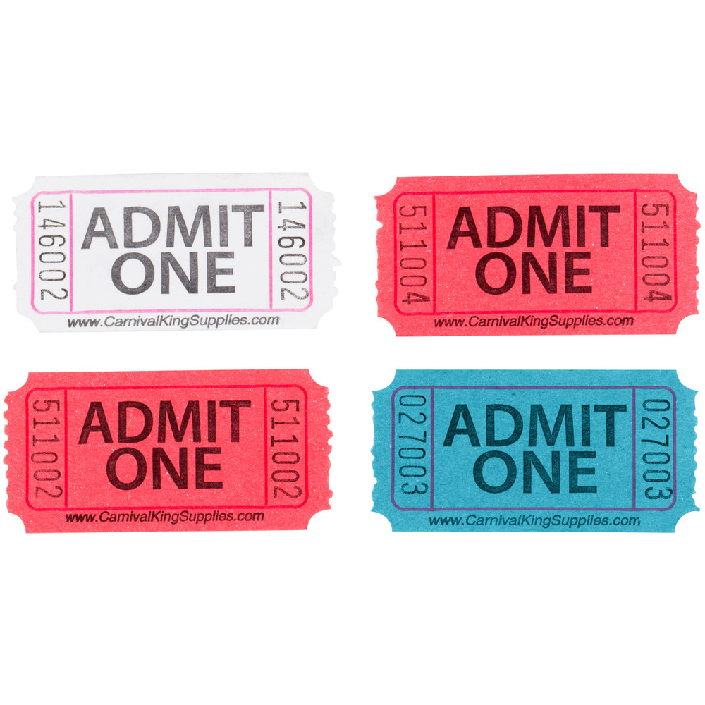 Carnival King Assorted 1-Part Admit One Tickets Set - Red, White, Blue