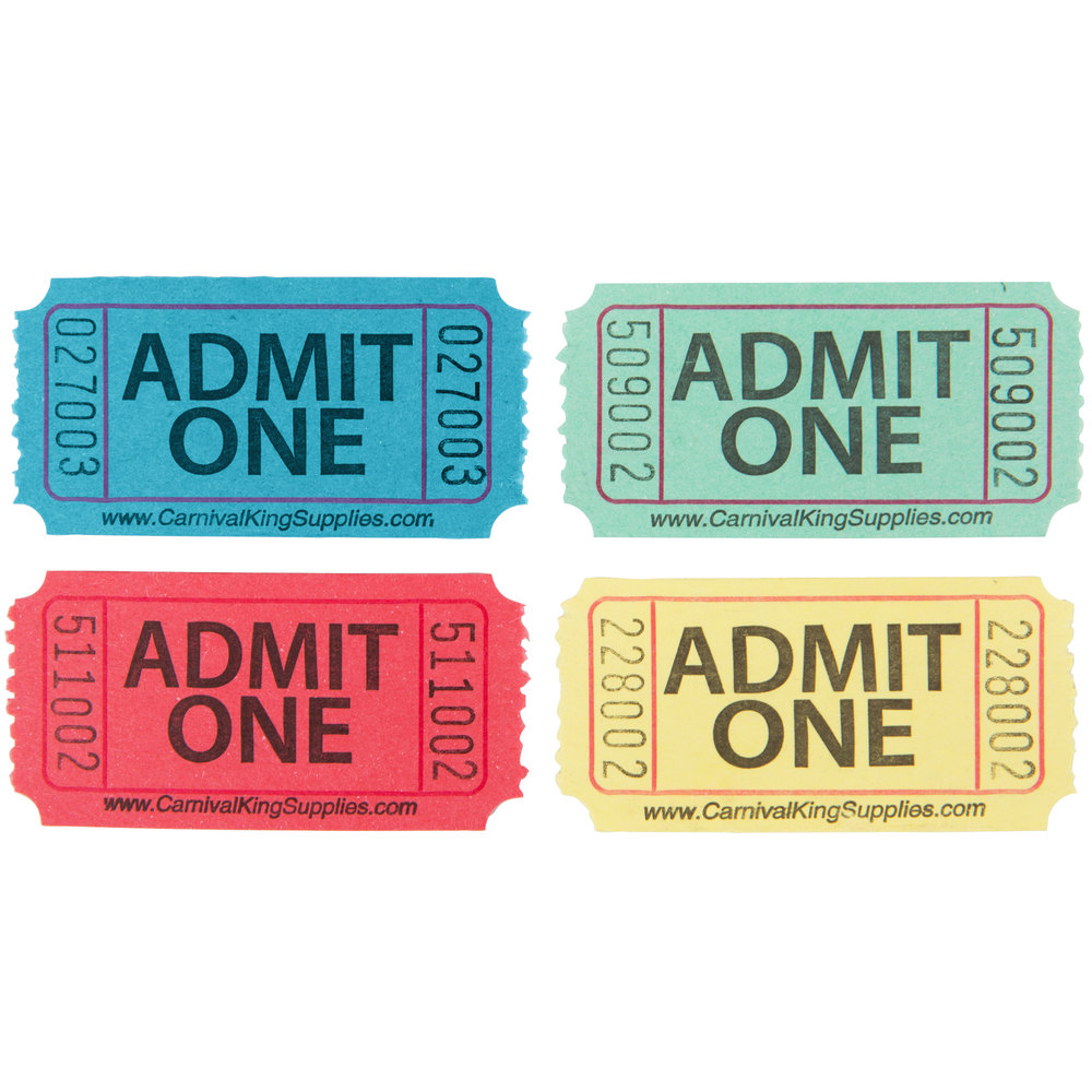 Carnival King Assorted 1-Part Admit One Tickets Set - Blue, Green, Red, Yellow