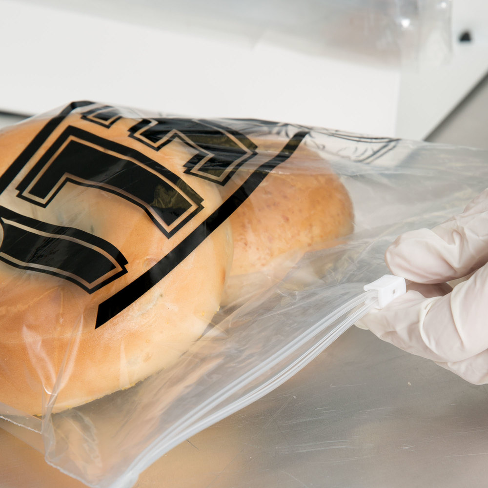 Two rolls in a plastic deli bag with slide seal being closed