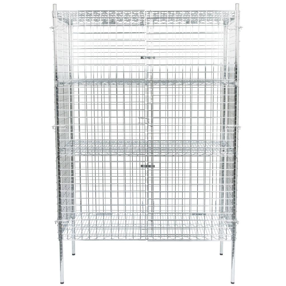 Regency NSF Stationary Chrome Wire Security Cage Kit - 24 inch x 48 inch x 74 inch