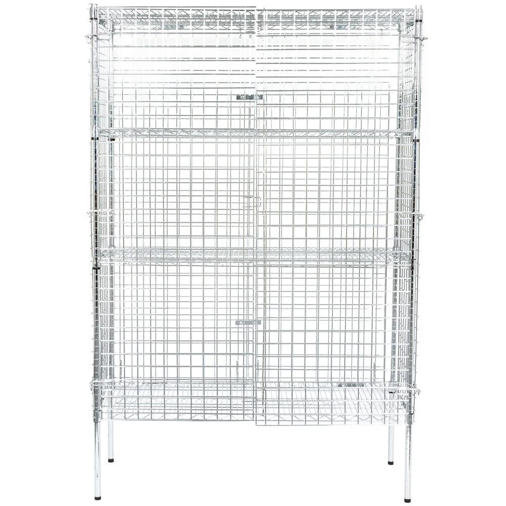 Regency NSF Stationary Chrome Wire Security Cage Kit - 18 inch x 48 inch x 74 inch