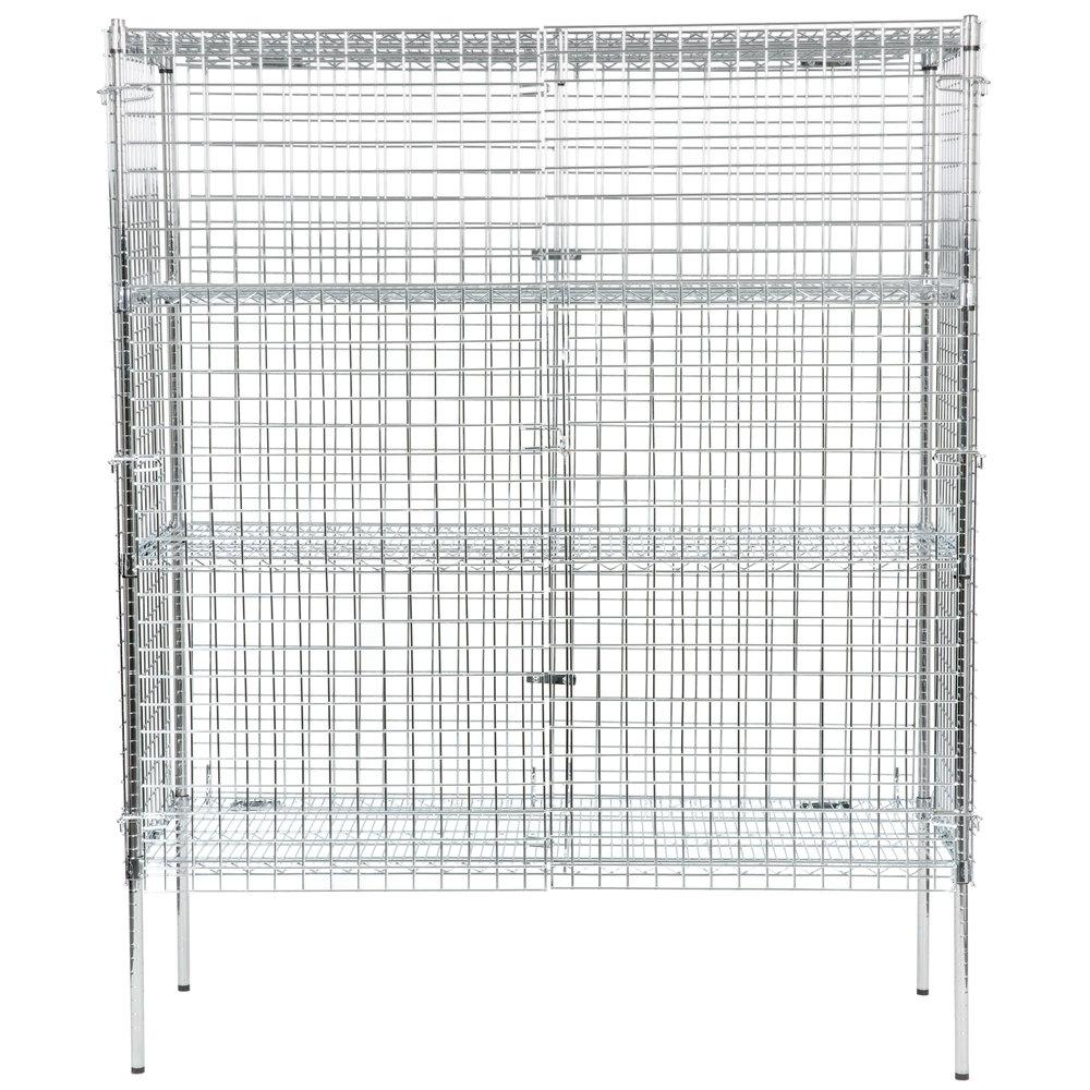 Regency NSF Stationary Chrome Wire Security Cage Kit - 24 inch x 60 inch x 74 inch