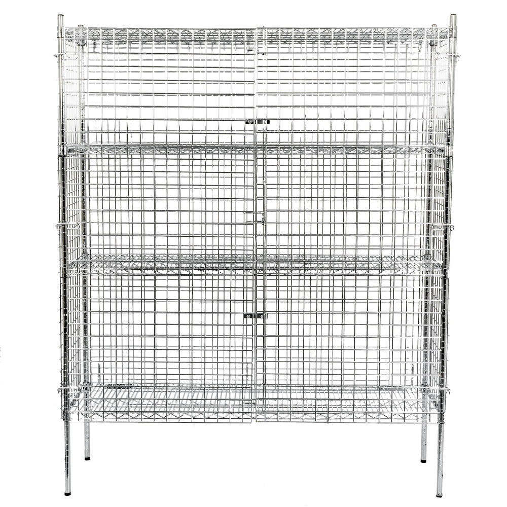 Regency NSF Stationary Chrome Wire Security Cage Kit -18 inch x 60 inch x 74 inch