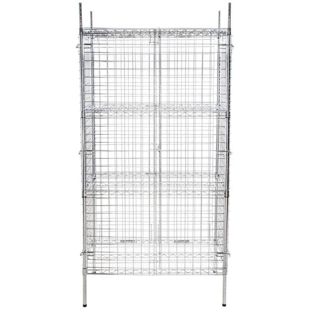 Regency NSF Stationary Chrome Wire Security Cage Kit - 18 inch x 36 inch x 74 inch