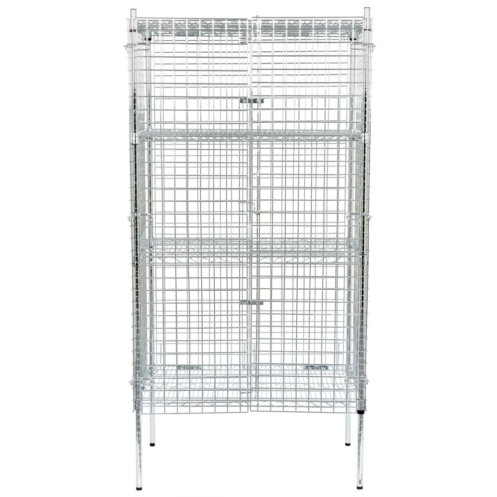 Regency NSF Stationary Chrome Wire Security Cage Kit - 24 inch x 36 inch x 74 inch