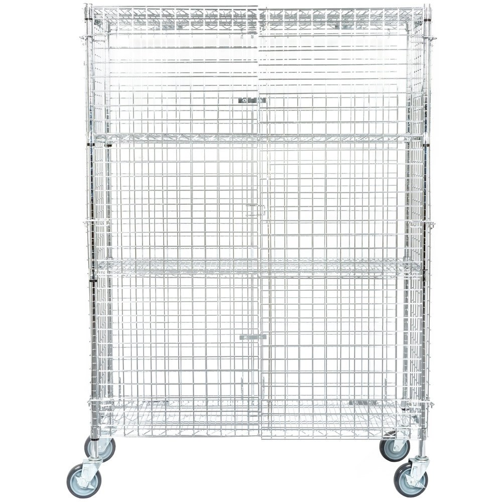 Regency NSF Mobile Chrome Wire Security Cage Kit - 18 inch x 48 inch x 69 inch