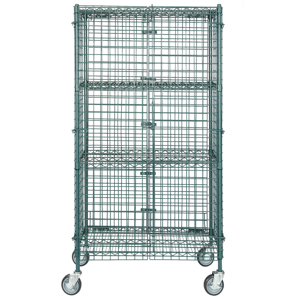 Regency NSF Mobile Green Wire Security Cage Kit - 18 inch x 36 inch x 69 inch