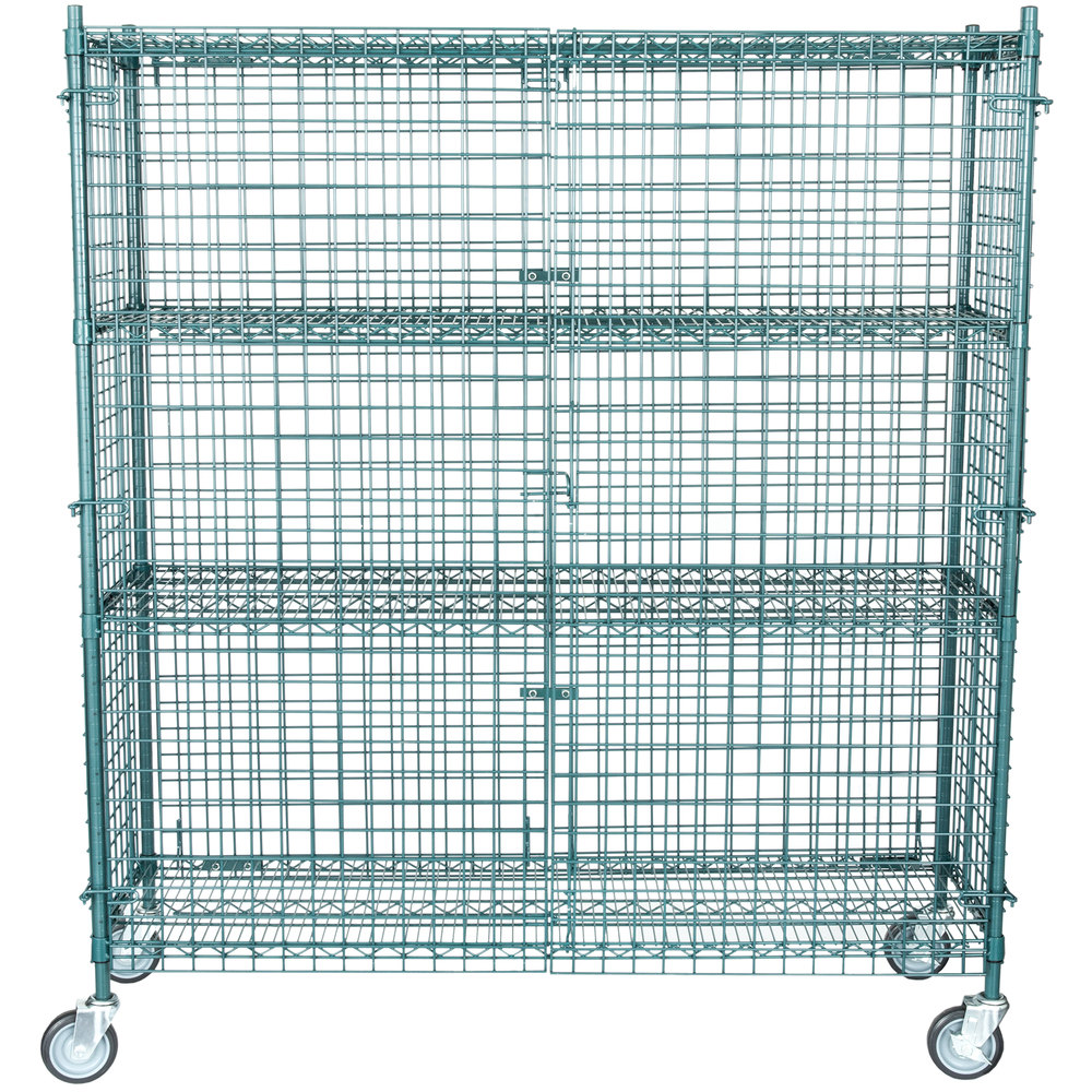 Regency NSF Mobile Green Wire Security Cage Kit - 18 inch x 60 inch x 69 inch