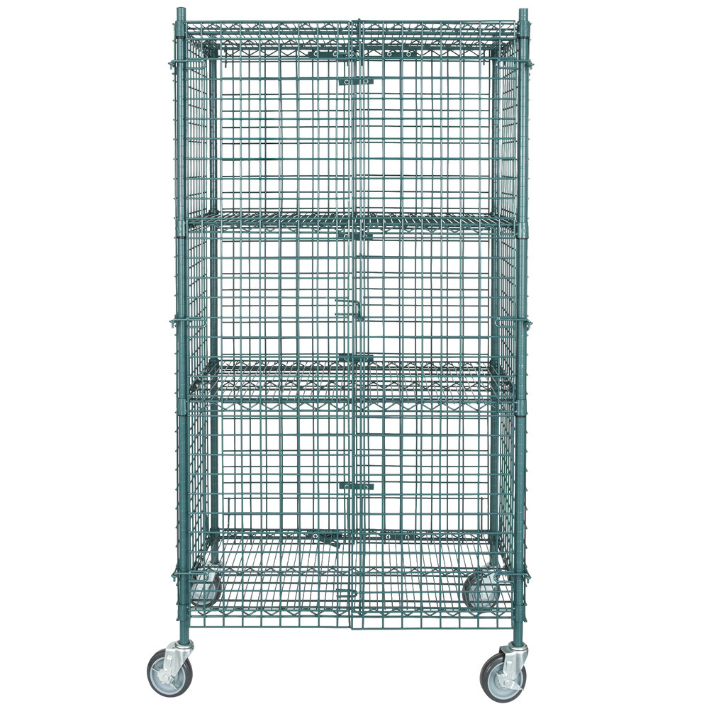 Regency NSF Mobile Green Wire Security Cage Kit - 24 inch x 36 inch x 69 inch